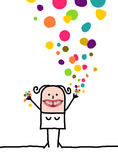 Cartoon people - Happy woman with confetti stock image