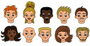 Cartoon people heads - diversity Stock Images