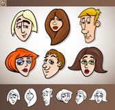 Cartoon people heads set illustration Stock Image