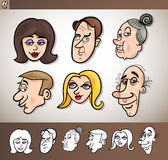 Cartoon people heads set illustration Stock Photos