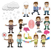 Cartoon People with Holiday and Business Concepts. Vector Illustration Royalty Free Stock Photo