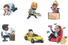 Cartoon people icon of various career and status people Royalty Free Stock Images