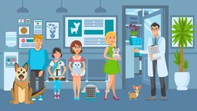 Cartoon people with ill pets sit at reception. Turn to veterinarian. Vet clinic. Vector illustration royalty free illustration