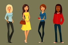 Cartoon People In Various Outfits Stock Photos