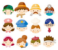 Cartoon people job face icons Royalty Free Stock Photo