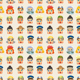 Cartoon people job face seamless pattern Royalty Free Stock Photo