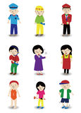 Cartoon people job icon set. Drawing Royalty Free Stock Image