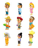 Cartoon people job icons set. Drawing Royalty Free Stock Image