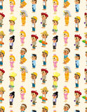 Cartoon people job seamless pattern Stock Images