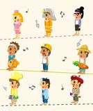 Cartoon people job seamless pattern Royalty Free Stock Images