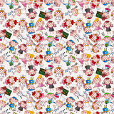 Cartoon people job seamless pattern Stock Photo