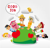 Cartoon people job seamless pattern Stock Image