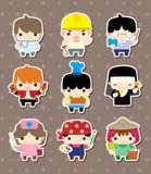 Cartoon people job stickers Stock Images
