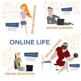 Cartoon people with laptops vector set. Royalty Free Stock Images