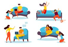 Cartoon People Leisure at Home Family Indoors. Cartoon People Leisure at Home. Family Indoors Vector Illustration. Man with Notebook Internet Browsing. Woman stock illustration