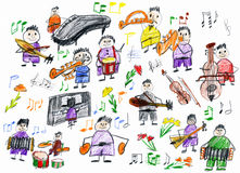 Cartoon people musician collection, orchestra object, children drawing on paper, hand drawn art picture Royalty Free Stock Image