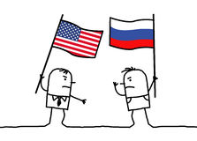 Cartoon people opinions - American and Russian Stock Photos