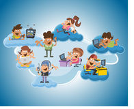 Cartoon people over cloud computing. Group of cute happy cartoon people over cloud computing Stock Photography