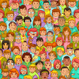 Cartoon people pattern. Seamless pattern with cartoon people Stock Photos
