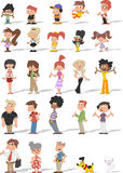 Cartoon people with pets. Colorful cute happy cartoon people with pets Royalty Free Stock Image
