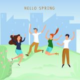 Cartoon people play in the spring park. The illustration shows holiday time stock illustration