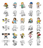 Cartoon people playing sports Stock Photography