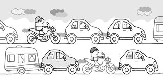 Cartoon people in a polluted traffic jam. Vector cartoon people in a polluted traffic jam vector illustration