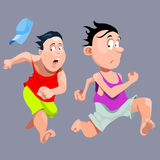 Cartoon people quickly run in fright Royalty Free Stock Image