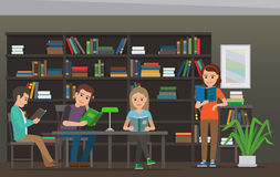 Cartoon People Read Books at Library. Library Room. Four characters, men and women, sit at table with lamp on it and read books in Library, big bookcase as Royalty Free Stock Image