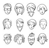 Cartoon people's heads. Characters design. Funny cartoon boys and girls smiling Characters design stock illustration