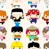 Cartoon people seamless pattern. Drawing Royalty Free Stock Photo