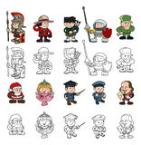 Cartoon people set. A set of cartoon people or children playing dress up. Color and black and white outline versions included Stock Image