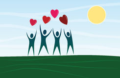 Cartoon people silhouettes with heart-shapes balloons Royalty Free Stock Photo