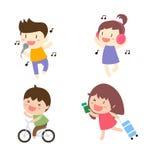 Cartoon people singing,listening music,biking and running Stock Images