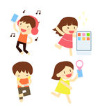 Cartoon people singing,listening music,biking and running Stock Photo
