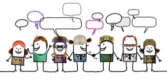 Cartoon people - social network and diversity royalty free stock photo