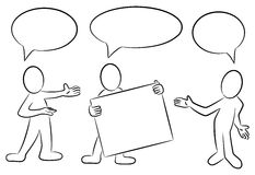 Cartoon people with speech bubbles presenting. Vector illustation of some hand drawn cartoon people in black and white with speech bubbles stock illustration
