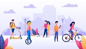 Cartoon People Spending Time Outdoors Illustration. Cartoon People City Dwellers Spending Time Outdoors Illustration. Happy Summer Time, Recreation in Public stock illustration