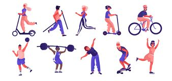 Cartoon people sport activities. Trendy flat characters running riding playing and doing workout stock images