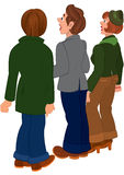 Cartoon people standing and looking on something Royalty Free Stock Photos