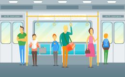 Cartoon People in Subway Train Card Poster. Vector. Cartoon People in Subway Train Card Poster Underground Transport Concept Flat Design Style for Ad. Vector Royalty Free Stock Image