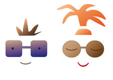 Cartoon people in sun glasses. Cartoon boy with brown hair and girl with red hair in sun glasses vector illustration