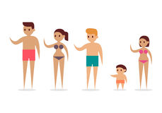 Cartoon people swimming suit, vector Royalty Free Stock Photo