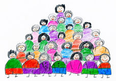 Cartoon people team collection group portrait, children drawing object on paper, hand drawn art picture stock illustration