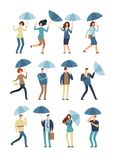 Cartoon people with umbrella in rainy day. Man and woman in raincoat under rain vector flat characters isolated. Female and male in rainy weather illustration Royalty Free Stock Image