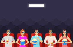 Cartoon People Watching Movie in Cinema Background Card. Vector. Cartoon People Watching Movie in Cinema Background Card Entertainment Concept Flat Design Style Royalty Free Stock Photography
