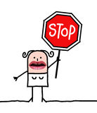 Cartoon people - woman and stop sign royalty free stock photos