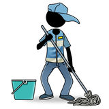 Cartoon people at work icon - cleaner. Cartoon icon of a cleaner at work Stock Photography