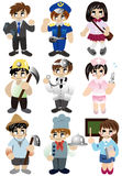 Cartoon people work icon set Stock Photos