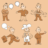 Cartoon peoples. Cartoon peoples in different poses Royalty Free Stock Photography